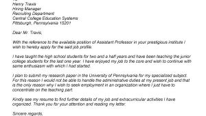 Cover Letter for assistant Professor Job Application Email format to Professor Slim Image