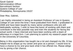 Cover Letter for assistant Professor Post assistant Professor Cover Letter Sample