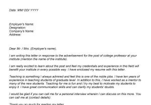 Cover Letter for assistant Professor Post College Professor Cover Letter Sample Letter Of