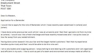 Cover Letter for Bartender Position Bartender Cover Letter Example Icover org Uk