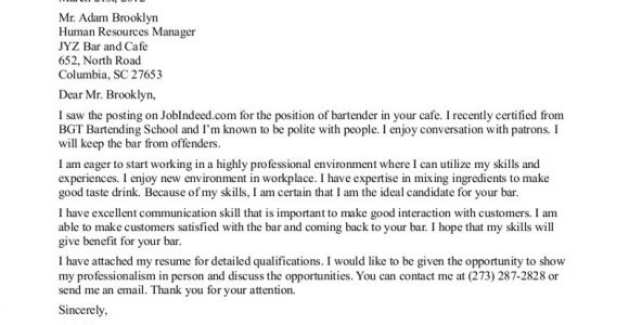 Cover Letter for Bartender with No Experience Bartender Cover Letter No Experience the Letter Sample