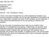 Cover Letter for Claims Adjuster Position Insurance Claims Adjuster Cover Letter