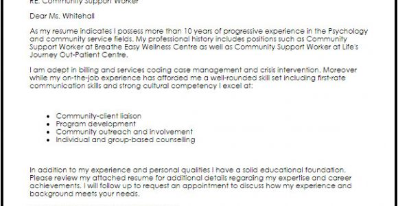 Cover Letter for Community Support Worker Position Community Support Worker Cover Letter Sample Cover