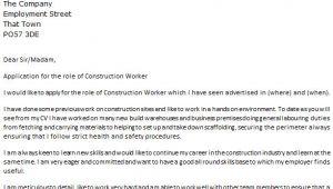 Cover Letter for Construction Labourer Construction Worker Cover Letter Example Icover org Uk