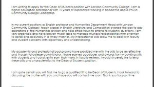 Cover Letter for Dean Of Students Dean Of Students Cover Letter Sample Cover Letter
