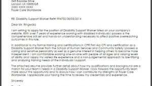 Cover Letter for Disability Support Worker Disability Support Worker Cover Letter Sample Cover