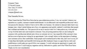 Cover Letter for Esthetician Position Professional Esthetician Cover Letter Sample Writing