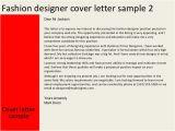 Cover Letter for Fashion Designer Job Fashion Designer Cover Letter