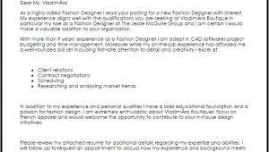 Cover Letter for Fashion Designer Job Fashion Designer Cover Letter Sample Cover Letter