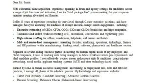 Cover Letter for Headhunter Recruiter Cover Letter Sample Monster Com