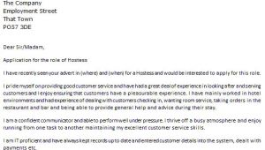 Cover Letter for Hostess Position Hostess Cover Letter Example Icover org Uk