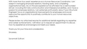 Cover Letter for Human Resource Coordinator Best Hr Coordinator Cover Letter Examples Livecareer
