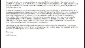 Cover Letter for Information Security Job Information Security Cover Letter Sample Cover Letter