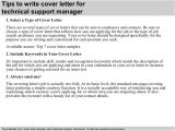 Cover Letter for It Technical Support Technical Support Manager Cover Letter