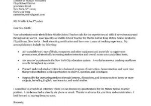 Cover Letter for Job Application In School Middle School Teacher Cover Letter Middle School English