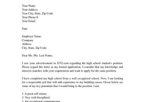 Cover Letter for Job Application In School Resume Cover Letter Examples for High School Students