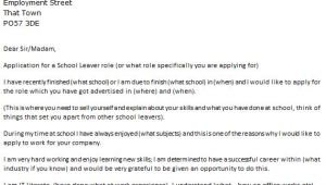 Cover Letter for Job Application In School School Leaver Job Cover Letter Example Icover org Uk