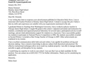 Cover Letter for Job Application In School Teacher Cover Letter Examples Cover Letter format for