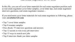 Cover Letter for Lettings Negotiator Real Estate Negotiator Cover Letter