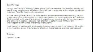 Cover Letter for Mailroom Clerk Mailroom Clerk Cover Letter Sample Cover Letter