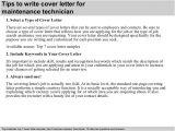 Cover Letter for Maintenance Mechanic Position Maintenance Technician Cover Letter