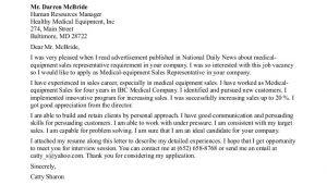 Cover Letter for Medical Sales Representative with No Experience Sales Rep Cover Letter No Experience Medical Equipment