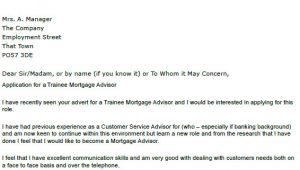 Cover Letter for Mortgage Advisor Trainee Mortgage Advisor Cover Letter Example Icover org Uk