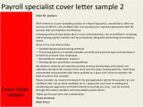 Cover Letter for Payroll Administrator Payroll Specialist Cover Letter