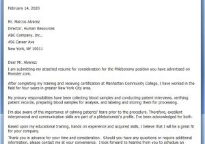 Cover Letter for Phlebotomy Job Cover Letter Phlebotomy Resume Downloads