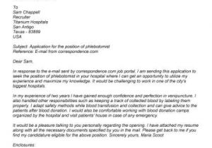 Cover Letter for Phlebotomy Job Phlebotomy Cover Letter No Experience Letter Pinterest