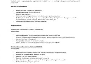 Cover Letter for Phlebotomy Job Phlebotomy Resume Objective Resume Cover Letter Samples