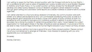 Cover Letter for Policy Analyst Policy Analyst Cover Letter Sample Cover Letter
