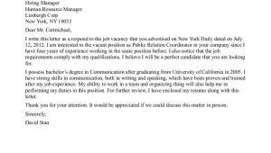 Cover Letter for Pr Job Public Relations Internship Cover Letter the Letter Sample