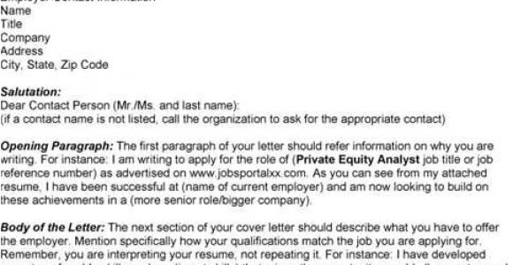 Cover Letter for Private Equity Private Equity Cover Letter