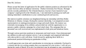 Cover Letter for Public Relations Position Cover Letter 13 Free Sample Example format Free