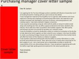Cover Letter for Purchasing Manager Purchasing Manager Cover Letter