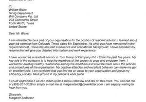 Cover Letter for Resident Advisor Position 1 Sample Resident assistant Cover Letter for Experienced
