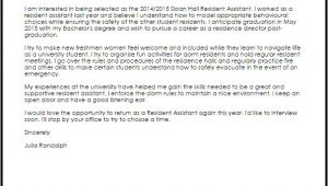 Cover Letter for Resident Advisor Position Resident assistant Cover Letter Sample Cover Letter