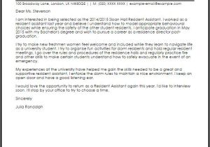 Cover Letter for Resident Advisor Position Resident assistant Cover Letter Sample Cover Letter
