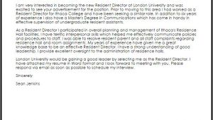 Cover Letter for Resident Director Position Resident Director Cover Letter Sample Cover Letter