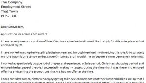 Cover Letter for Sales Consultant Job Sales Consultant Cover Letter Example Icover org Uk