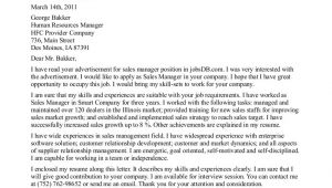 Cover Letter for Sales Executive with No Experience Cover Letter for Sales and Marketing Manager Position