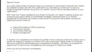 Cover Letter for Scheduler Project Scheduler Cover Letter Sample Cover Letter