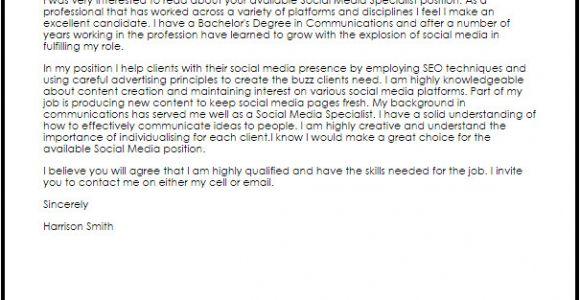 Cover Letter for social Media Specialist social Media Specialist Cover Letter Sample Cover Letter