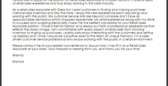 Cover Letter for Store associate Retail Sales associate Cover Letter Sample Cover Letter