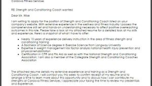 Cover Letter for Strength and Conditioning Coach Strength and Conditioning Coach Cover Letter Sample