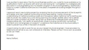 Cover Letter for Structural Engineer Position Structural Engineer Cover Letter Sample Cover Letter