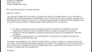 Cover Letter for Substance Abuse Counselor Substance Abuse Counselor Cover Letter Sample Cover