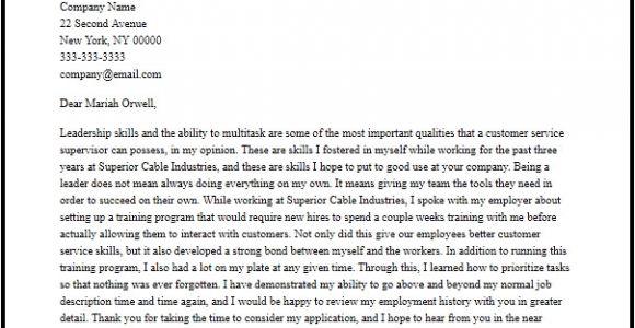 Cover Letter for Supervisor Position Customer Services Professional Customer Service Supervisor Cover Letter