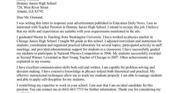 Cover Letter for Teaching Job In School Teacher Cover Letter Examples Cover Letter format for